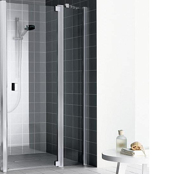 Kermi Raya Душевая дверь 100х200 см, петли справа, цвет: глянцевое серебро