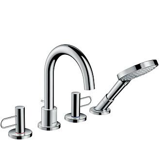 Axor Uno Смеситель на борт ванны, на 4 отв., с рукоятками-петлями, с ручным душем, цвет: хром