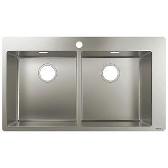 Hansgrohe SilicaTec Кухонная мойка 50х86,5х19 см, 2 чаши, цвет: нерж сталь