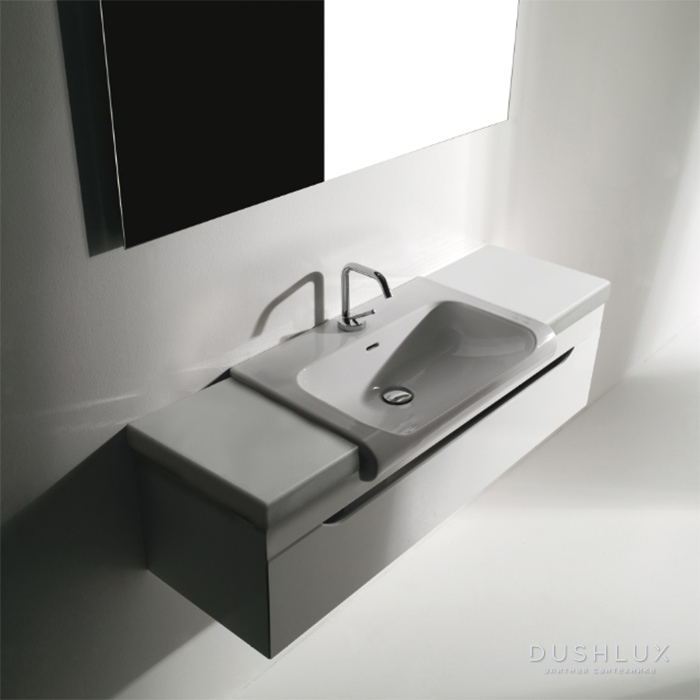 KERASAN Inka Project База INKA подвесная 120см, для установки раковины 60х40 см, по центру, раковина цвет белый глянцевый, панель белая глянцевая, цвет базы белый глянцевый