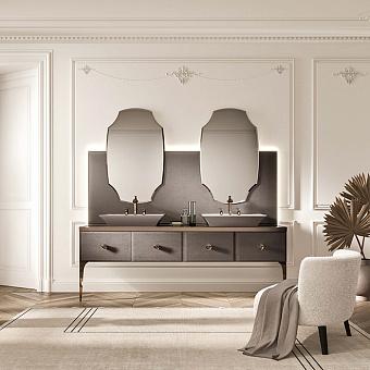 VITAGE milldue edition MAJESTIC 09 Комплект мебели 216х55х73 см, напольный, 2 раковины, 2 зеркала, с подсветкой, отделка: стекло elephant bronze, фурнитура: бронза