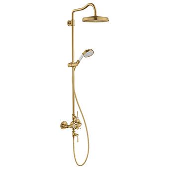 Axor Montreux Showerpipe Душевая стойка, с термостатическим смесителем, верхним душем d24см, шлангом и ручным душем, цвет: шлифованное золото