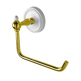 Devon&Devon DOROTHY держатель туалетного рулона настенный, держатель цвет: золото светлое/белый