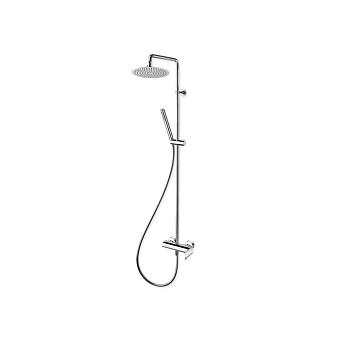 Cristina Profilo Душевой комплект: смеситель, стойка с верхним душем, ручной душ, гибкий шланг, цвет: хром