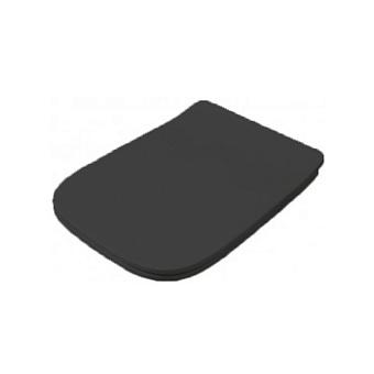 Artceram A16 Сиденье для унитаза с микролифтом, цвет: черный матовый, петли: хром