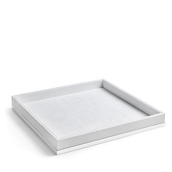 3SC Snowy Лоток универсальный 28х28хh4см, цвет: белая эко-кожа/белый матовый