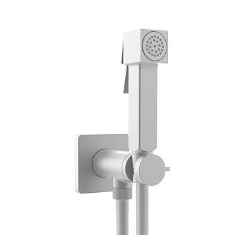 Bossini Cube Brass Гигиенический душ с прогрессивным смесителем, лейка металлическая, шланг Cromolux, цвет: белый матовый