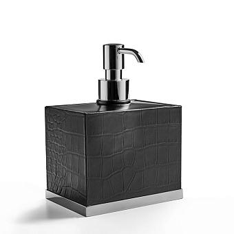 3SC Cocco Дозатор для жидкого мыла, настольный, отделка: черная кожа, цвет: хром