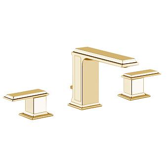 Gessi Eleganza Смеситель для раковины на 3 отверстия с донным клапаном, цвет: шлифованное золото