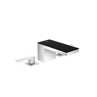Axor MyEdition Смеситель для раковины 70, на 3 отв., излив 200мм, со сливным гарнитуром, цвет: хром/черное стекло
