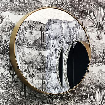 Cielo I Catini Круглое зеркало с пеналом, Ø90см, цвет: Brushed Bronze