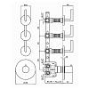 Zucchetti Simply beautiful Термостатический встроенный смеситель, с 3 запорными клапанами, цвет: хром