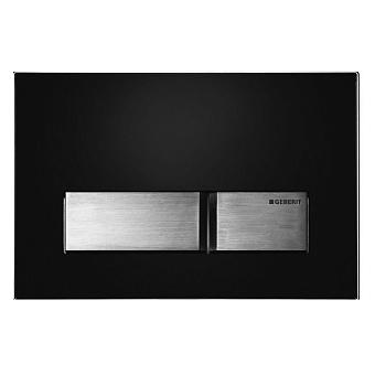 Sigma50, смывная клавиша, двойной смыв, рамка-черн./кнопки-нерж.сталь
