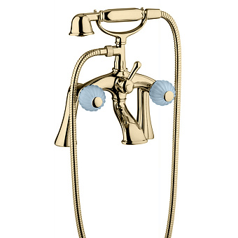 Bongio Rivoli Смеситель для ванны напольный, 2 отв., с ручным душем, цвет: золото/Turchese 04