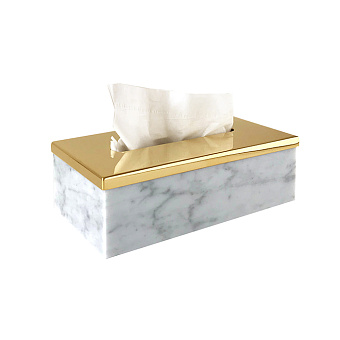 3SC Elegance Контейнер для салфеток 23х12,5хh7см, цвет: мрамор bianco carrara/золото 24к. Lucido