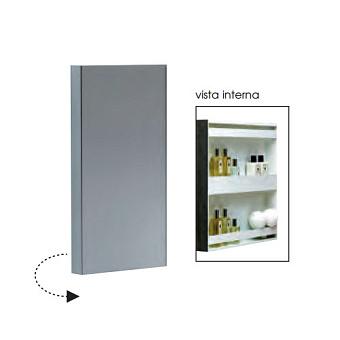 Azzurra Зеркальный шкаф - одностворчатый с внутренними полочками 320xh600x110 мм, открывание на 180 градусов.