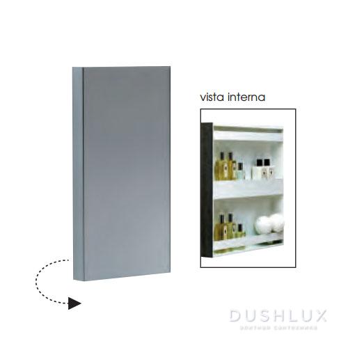 Azzurra Зеркальный шкаф - одностворчатый с внутренними полочками 32xh60x11см, открывание на 180 градусов.