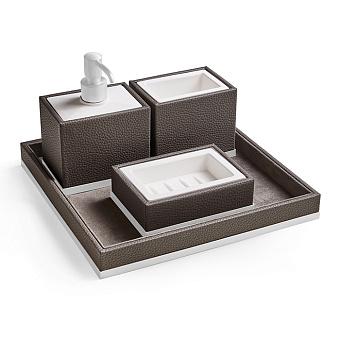 3SC Milano Комплект: стакан, дозатор, мыльница, лоток, цвет: коричневая эко-кожа/белый матовый