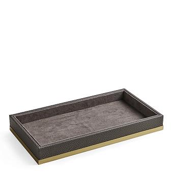 3SC Milano Лоток универсальный 28х15хh4см, цвет: коричневая эко-кожа/золото 24к. Lucido