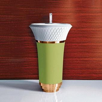 Falper George Раковина 58х58х87 см, 1 отв., напольная, выпуск в стену, цвет: зеленая агава