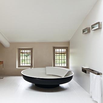 Agape Ufo Ванна отдельностоящая d204x50 см, круглая, 2 спинки, цвет: темно-серый