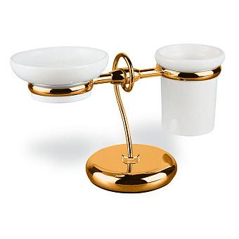 StilHaus Idra Настольные стакан + мыльница, цвет: бронза/керамика