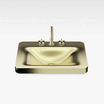 Armani Roca Baia Раковина 66x47 см, 3 отв., встраиваемая сверху, со скр. переливом, цвет: matt gold