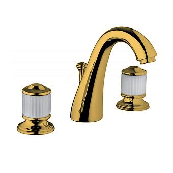 Bongio Cristallo Смеситель для раковины на 3 отв. , цвет золото/cristallo Bianco 00
