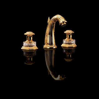 Devon&Devon Excelsior Swan Смеситель для раковины на 3 отверстия. Цвет: золото 24к.