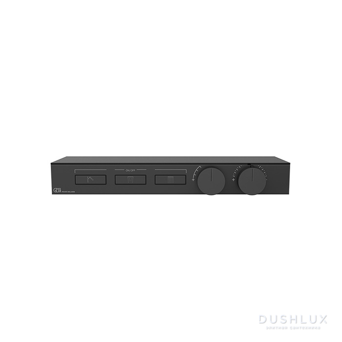 Gessi Hi-Fi Термостат для душа, с вкл. до 3 источников одновременно, с полкой из черного мат. стекла, цвет: Black XL