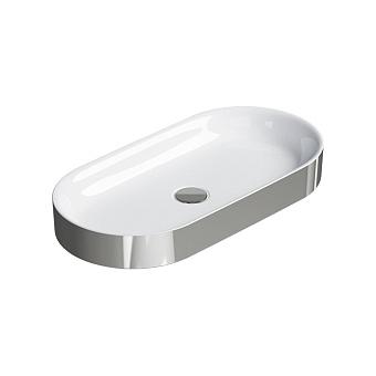Catalano Horizon Раковина накладная 70х30хh:8.5см., без перелива, цвет: серебро/белый