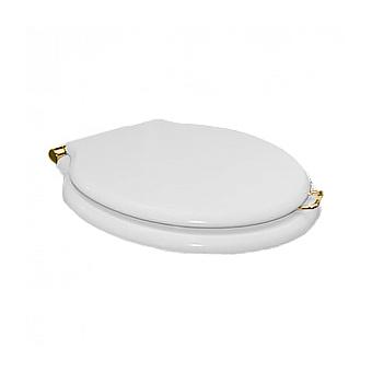 Devon&Devon Etoile/New Etoile Сиденье для унитаза из мдф, цвет: белый лакированный/петли золото светлое (микролифт)