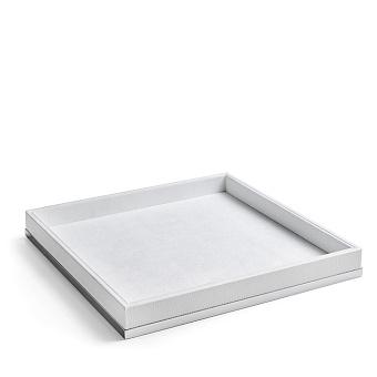 3SC Snowy Лоток универсальный 28х28хh4см, цвет: белая эко-кожа/хром