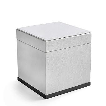 3SC Snowy Коробочка универсальная, 14х14хh14см, с крышкой, настольная, цвет: белая эко-кожа/черный матовый