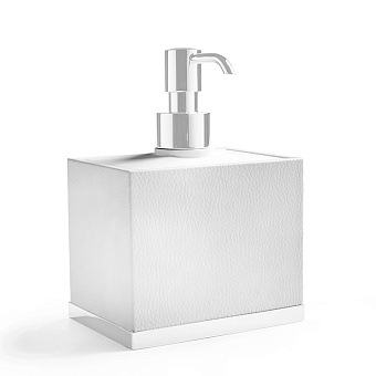 3SC Snowy Дозатор для жидкого мыла, настольный, цвет: белая эко-кожа/белый матовый