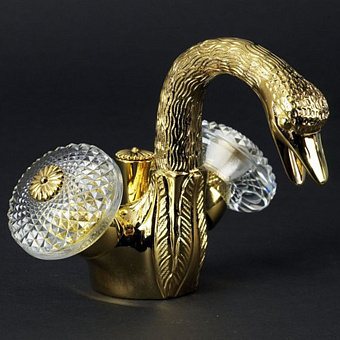 Cristal et Bronze Cygne Aile Смеситель для раковины/биде, цвет золото 24 к.