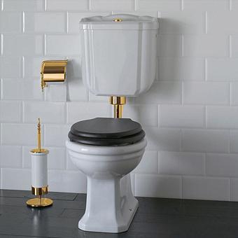 GLOBO Paestum Унитаз напольный 58*37,5см, слив в стену, со средней трубой, фурнитурой золото