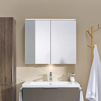 BURGBAD Eqio Зеркальный шкаф с LED подсветкой 5Вт IP24, 90х80х17см,2 зерк двери с обоих сторон, стекл полки, вкл/выкл, цвет: серый