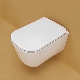 Kerasan Tribeca Унитаз подвесной 540*350 безободковый, с системой экономии воды 3л, c креплением WB9N, цвет: белый матовый  с сиденьем белым микролифт