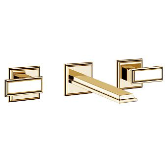 Gessi Eleganza Встраиваемый смеситель для раковины на 3 отверстия, без донного клапана, с изливом, цвет: шлифованное золото