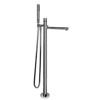 Gessi Ovale Напольный смеситель для ванны с ручным душем (без встраиваемой части), цвет: хром