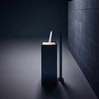 Axor MyEdition Смеситель для раковины, напольный, на 1 отв., излив 245мм, со сливным гарнитуром, цвет: хром/черное стекло