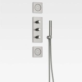 Armani Roca Island Комплект встраиваемой душевой системы.: термостат на 5 источников, ручной душ, кронштейн, шланг, 2 форсунки, цвет: brushed steel