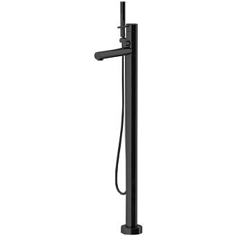 Gattoni Circle One Смеситель для ванны напольный 1090 мм, с ручной лейкой, излив 224 мм,  цвет: черный матовый