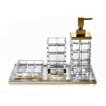 3SC Palace Комплект: стакан, дозатор, мыльница, лоток, , цвет: золото 24к. Lucido