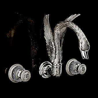 Devon&Devon Excelsior Swan Смеситель для раковины на три отверстия для настенного монтажа, цвет: блестящий никель