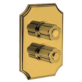 Bongio Fleur Blanc Встраиваемый термостатический смеситель (2 источника), цвет золото/черный фарфор(