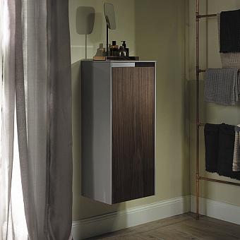 Burgbad Yso Шкаф подвесной 40x35x97 см, цвет светло-серый глянцевый/коньячный орех