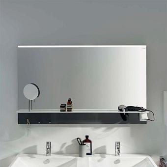 BURGBAD Eqio Зеркало с полкой , светодиод подсв.120х76.9х15см, выкл сбоку справа, 3 крючка, держ для фена справа, цвет: серый