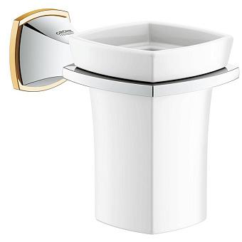Grohe Grandera, Держатель с керамическим стаканом, Цвет: хром/золото